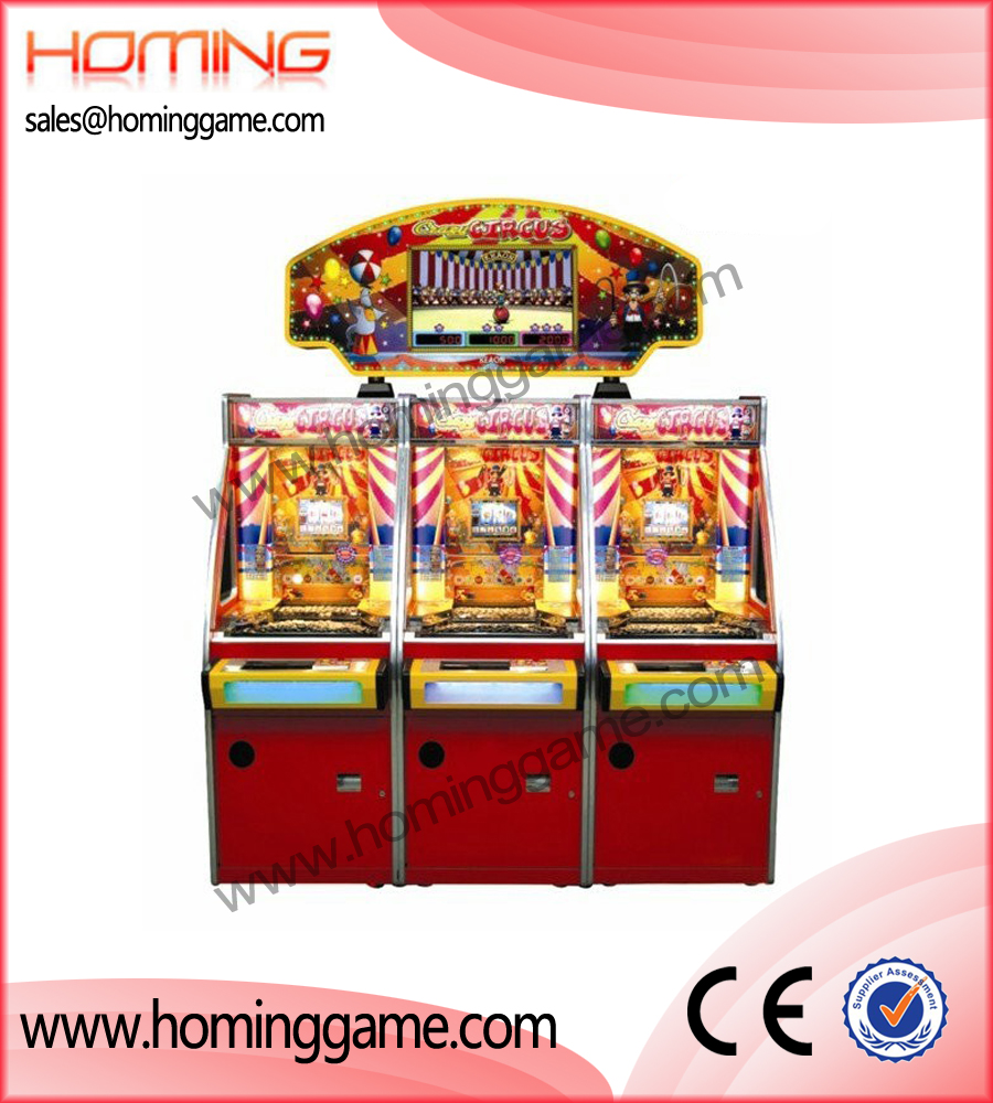 Crazy Circus Coin pusher game machine,coin pusher game machine,game machine,arcade game machine,coin operated game machine,amusement machine